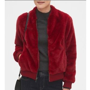 BANANA REPUBLIC Faux Fur Bomber Deep Red Sz S NWT